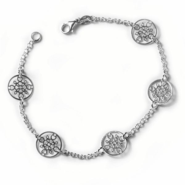 CARGO®  Italian Sterling Silver Tiny Rolo Bracelet, 5 round filigree stations, 7.5in KAR562