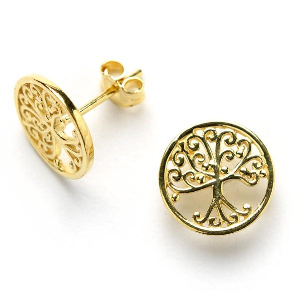 Southern Gates Gold Plated Oak Tree Stud Earrings