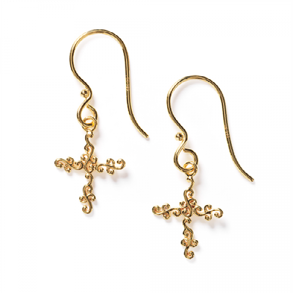 Southern Gates® 14k Gold Scrolling Vine Cross Earrings