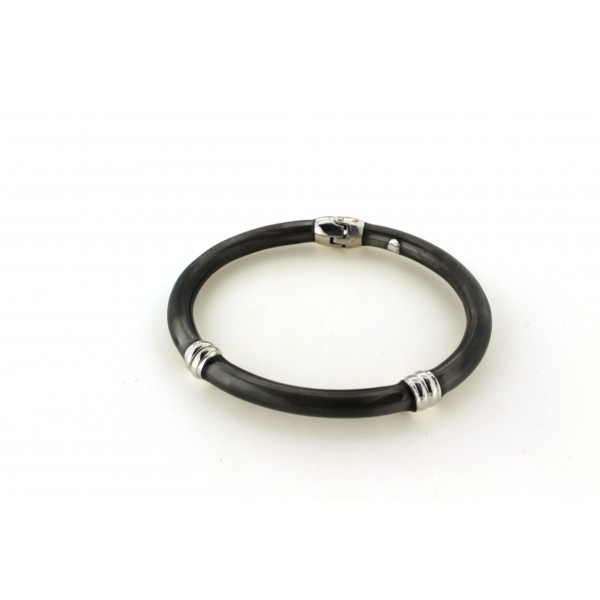 Silver Enamel Bangle
