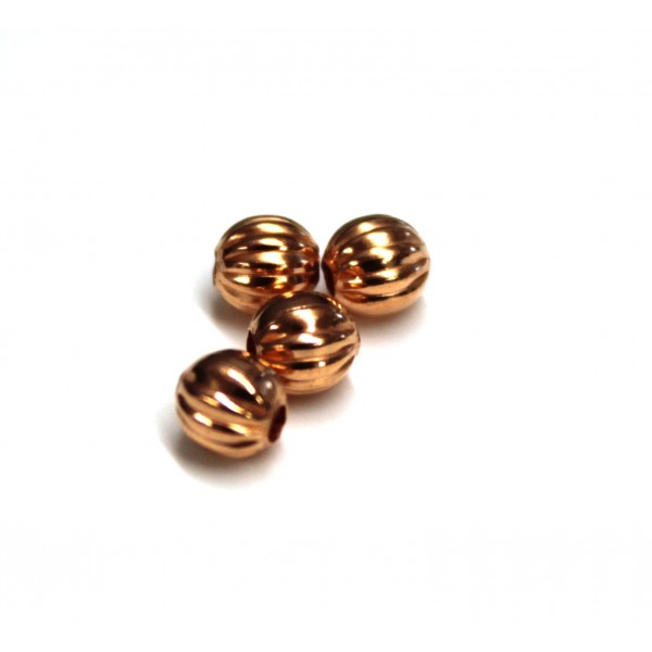 4.8mm Corrugated Round Copper Beads (PACK OF 100)