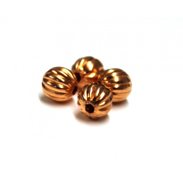6.2mm Corrugated Round Copper Beads (PACK OF 100)