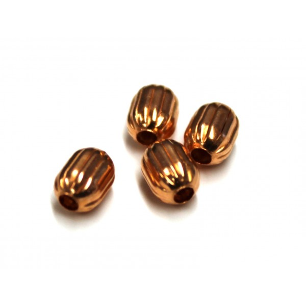 CB127   4.7X6.5mm Corrugated Barrel Copper Beads (PACK OF 100)