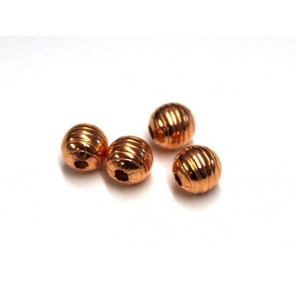 6mm Corrugated Round Copper Beads (PACK OF 100)