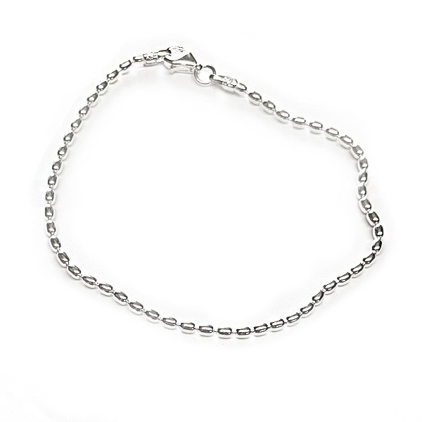 KAR512 1.8mm Sterling Silver Rice Bead Bracelet
