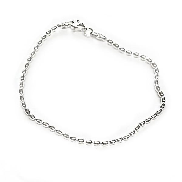 KAR512 1.8mm Sterling Silver Rice Bead Bracelet