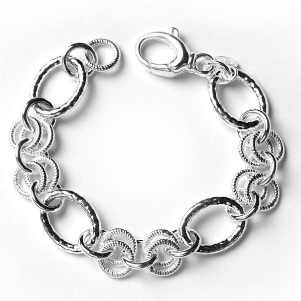 CARGO® Ribbed link bracelet, Hammered Ovals, Textured Circles, 7.5in KAR534
