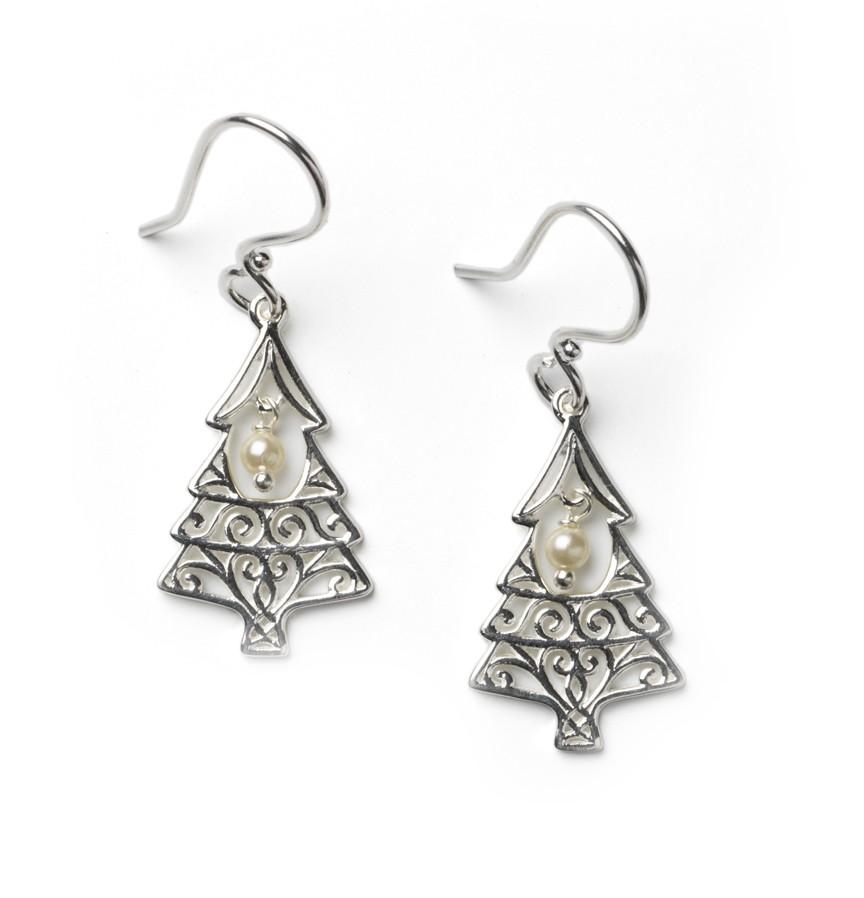 Southern Gates Christmas Tree Pearl Earrings E550