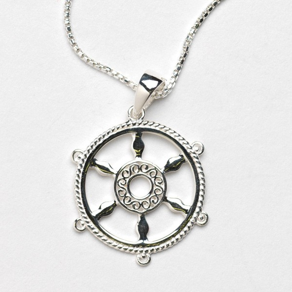 Southern Gates Collection Harbor Series Ship Wheel Pendant with Chain
