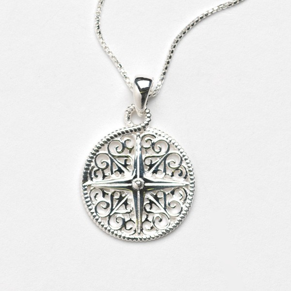 Southern Gates Collection Harbor Series Compass Pendant with Chain