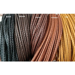 3.0mm Braided Kangaroo Leather (Available in Multiple Colors)