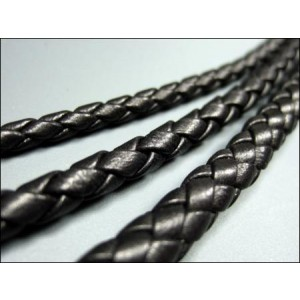 4mm Black Braided Cow Leather