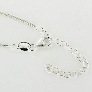 ALL63 1.0mm Sterling Silver Rounded Box Chain with Extender