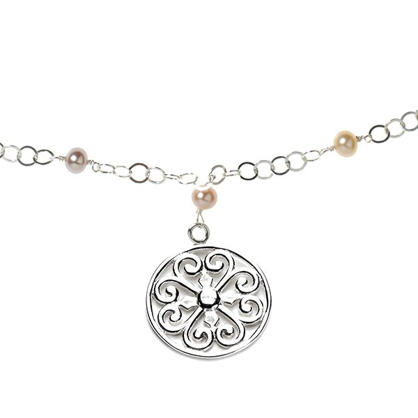 """Southern Gates® 22"""" Hand Wrought Pink Pearl Filigree Necklace"""