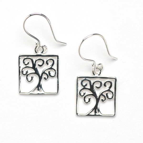 Southern Gates Square Oak Tree Earrings (E456)