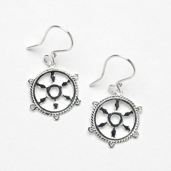 Southern Gates Collection Harbor Series Ship Wheel Earrings (E300)