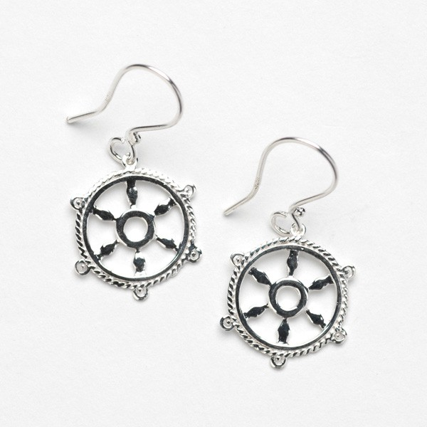 Southern Gates Collection Harbor Series Ship Wheel Earrings (E300)