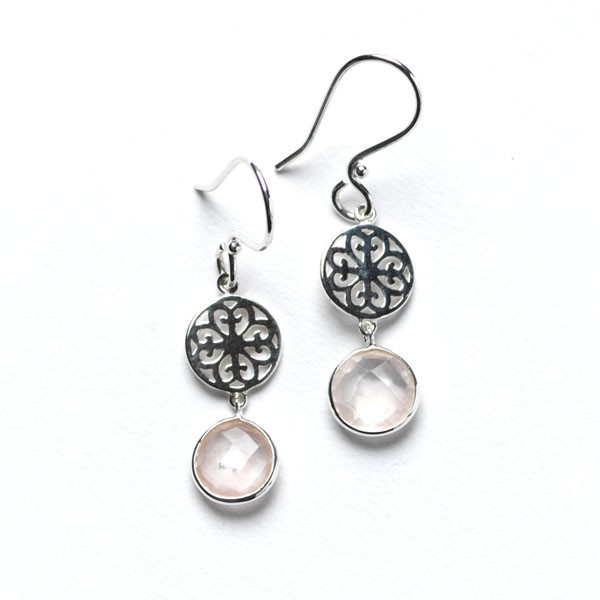 Rose Quartz & Filigree Earring, E524