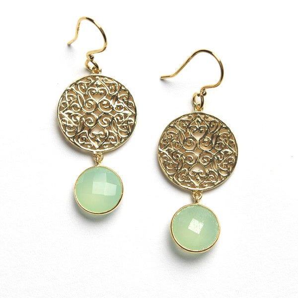 Southern Gates Gold Plated Filigree Earring with Chalcedony