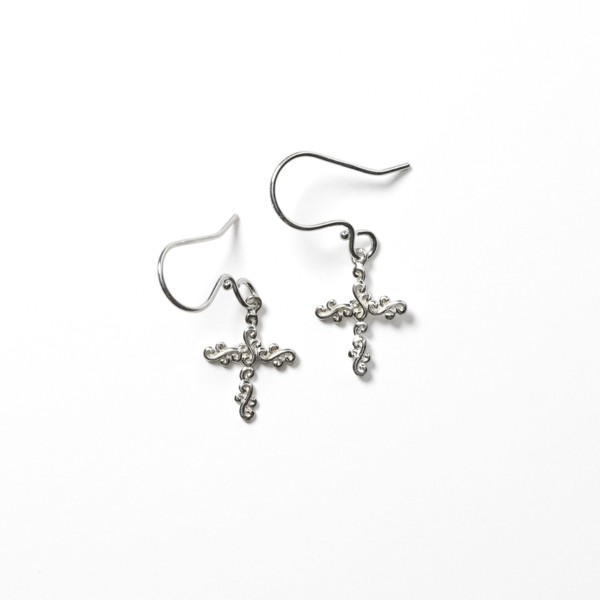 Southern Gates® Scrolling Vine Cross Earrings