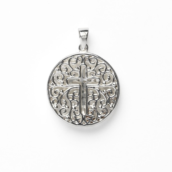 Southern Gates Double Sided Round Tree and Cross Pendant (P978)