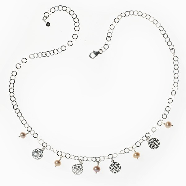 """Southern Gates® 20"""" Hand Wrought Pink Pearl Charm Necklace"""