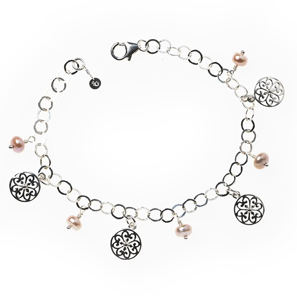 """Southern Gates® 8"""" Hand Wrought Pink Pearl Charm Bracelet"""