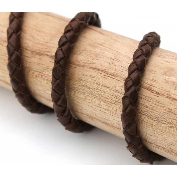 6.0mm Unfolded Braided Brown Leather