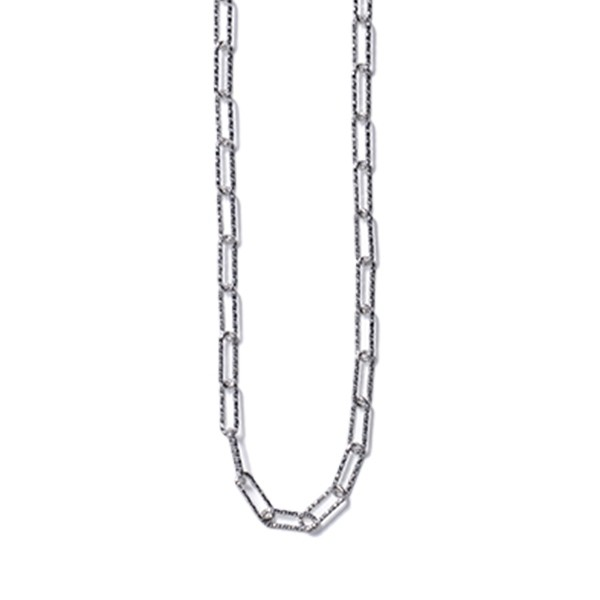 KAR597 Sterling Silver Rectangle Rolo Necklace