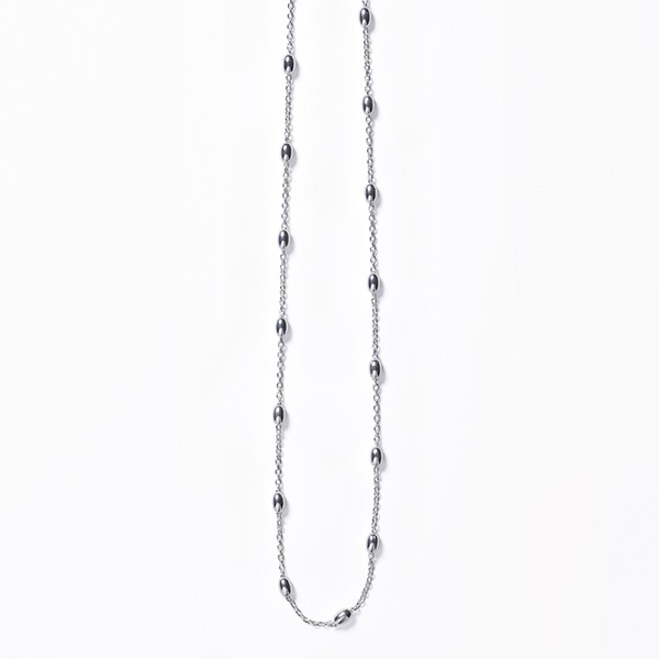 KAR605 Sterling Silver Rice Bead Satellite Necklace