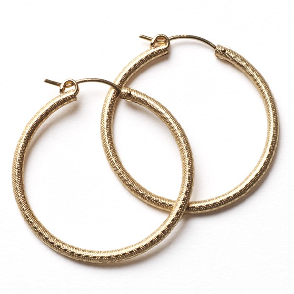 CARGO® 30MM Round Gold Filled Textured Earrings JF301T GF