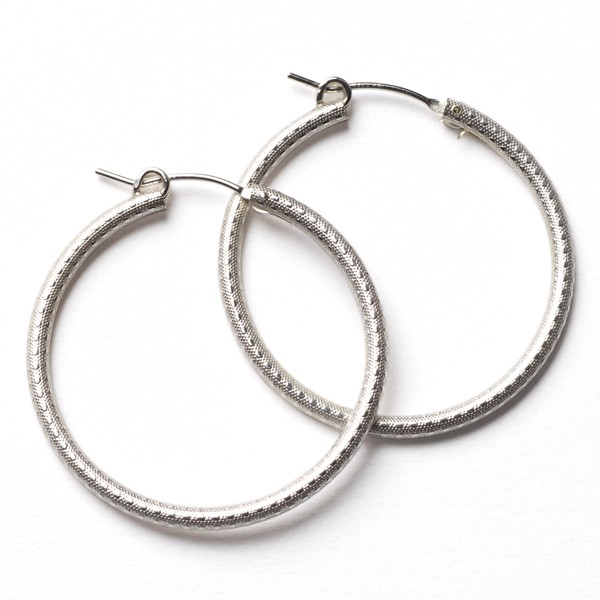 CARGO® 30MM Round Sterling Silver Textured Earrings JF301T SS