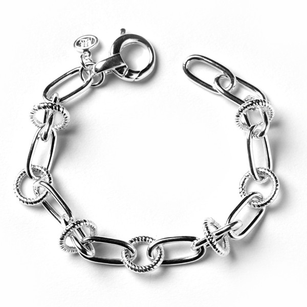CARGO® Ribbed Link Bracelet, Hammered Ovals, Textured Circles, 7.5in KAR535