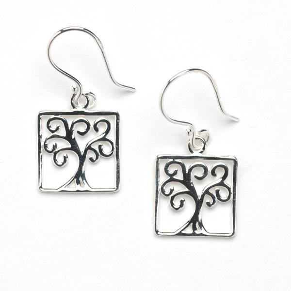 Southern Gates Square Oak Tree Earrings (E456)