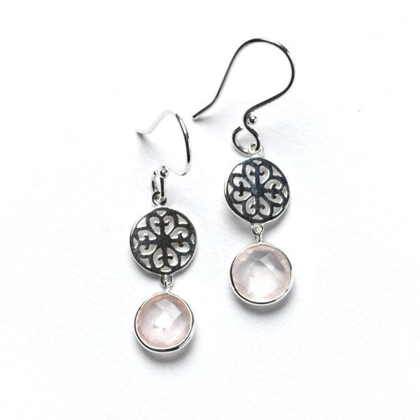 Rose Quartz & Filigree Earring, E524